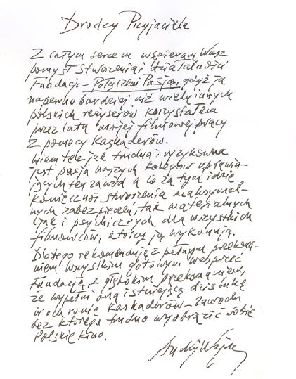 List Andrzeja Wajdy